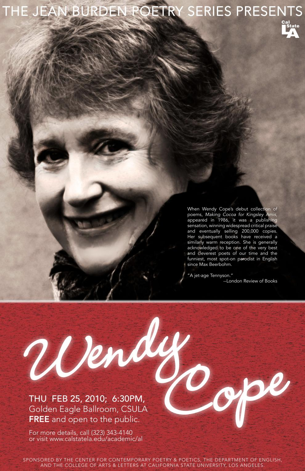 Image of Wendy Cope poster