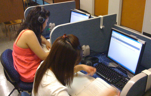Students studying in the Language Lab