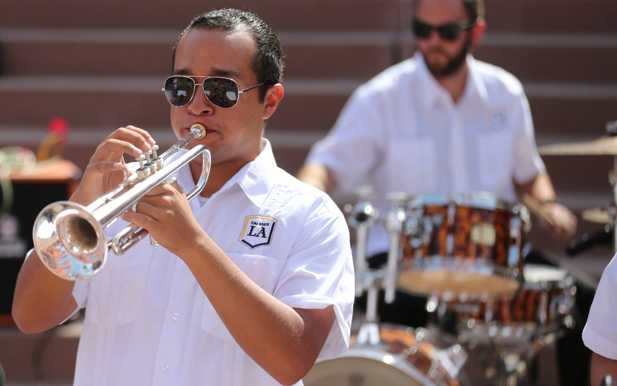 Trumpet player performing