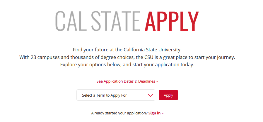 Cal State Apply Login Page - select the correct term from the drop down menu