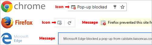 Pop up block icons and messages for Chrome, Firefox, and Microsoft Edge