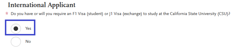 International Applicant Status question in Extended Profile