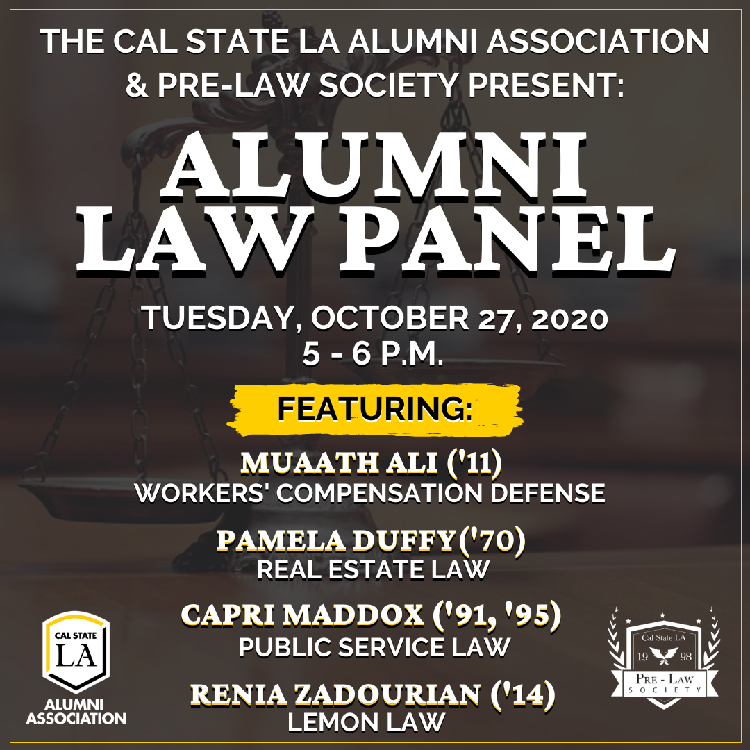 Join us for a free webinar! We are hosting an Alumni Law Panel on Tuesday, October 27 from 5 - 6 p.m.