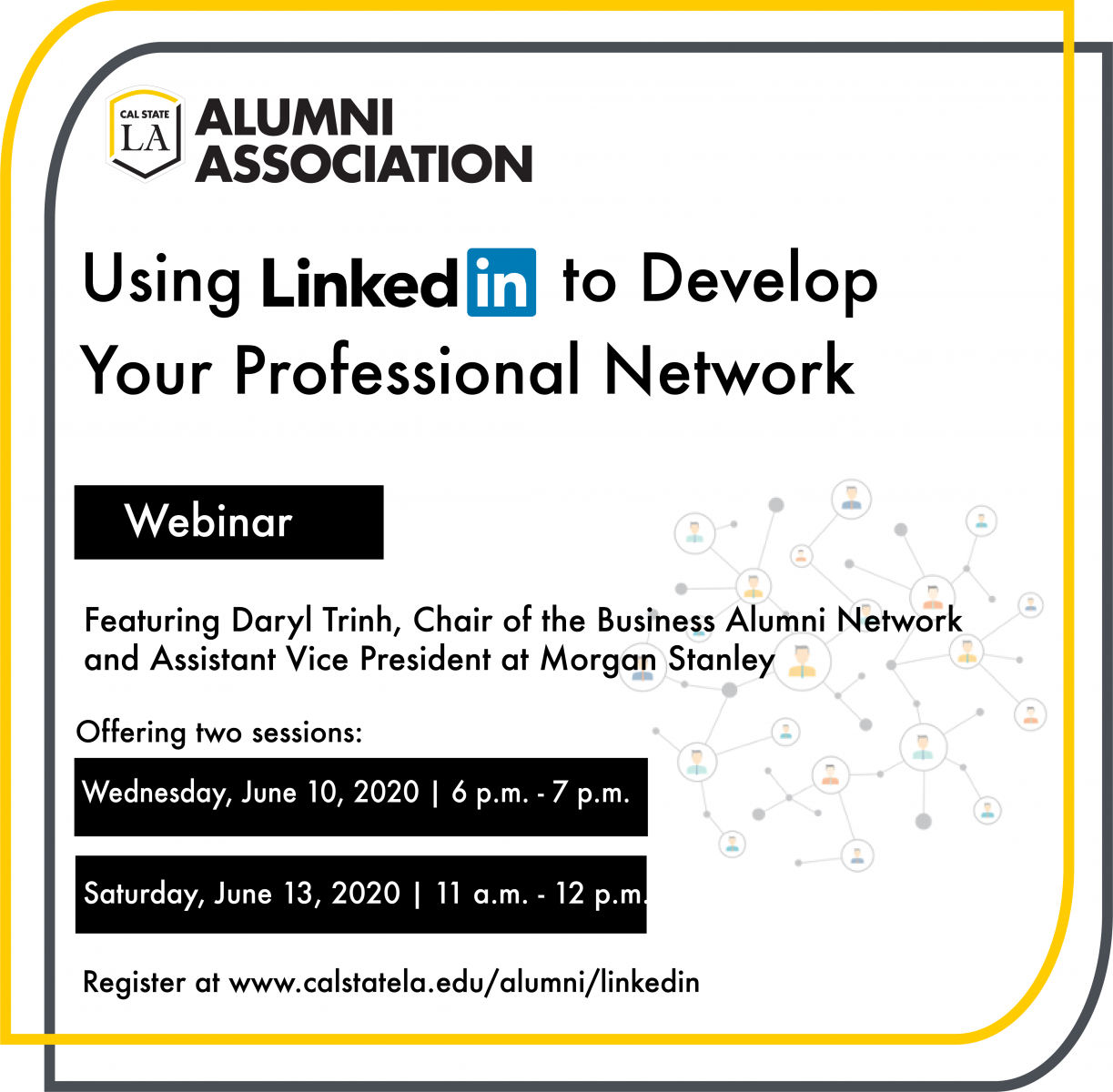 LinkedIn Webinar Alumni Association presents Using your LinkedIn to Develop your Professional Network