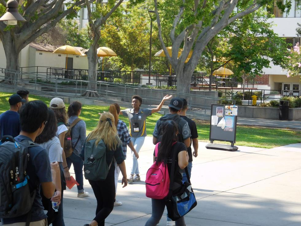 A Campus Tour Guide giving a tour to a group of future freshmen.