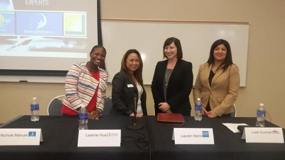Panel of employers speaking to students