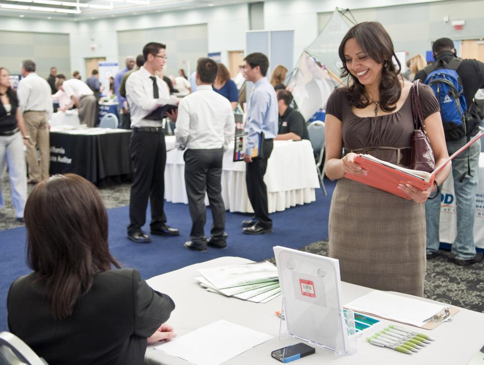 Students attending career fair