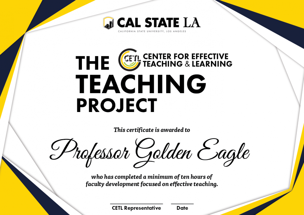 Teaching Project Certificate