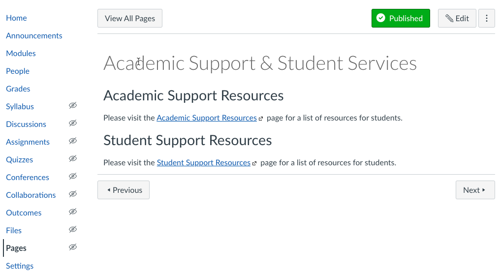 Academic Support Services page
