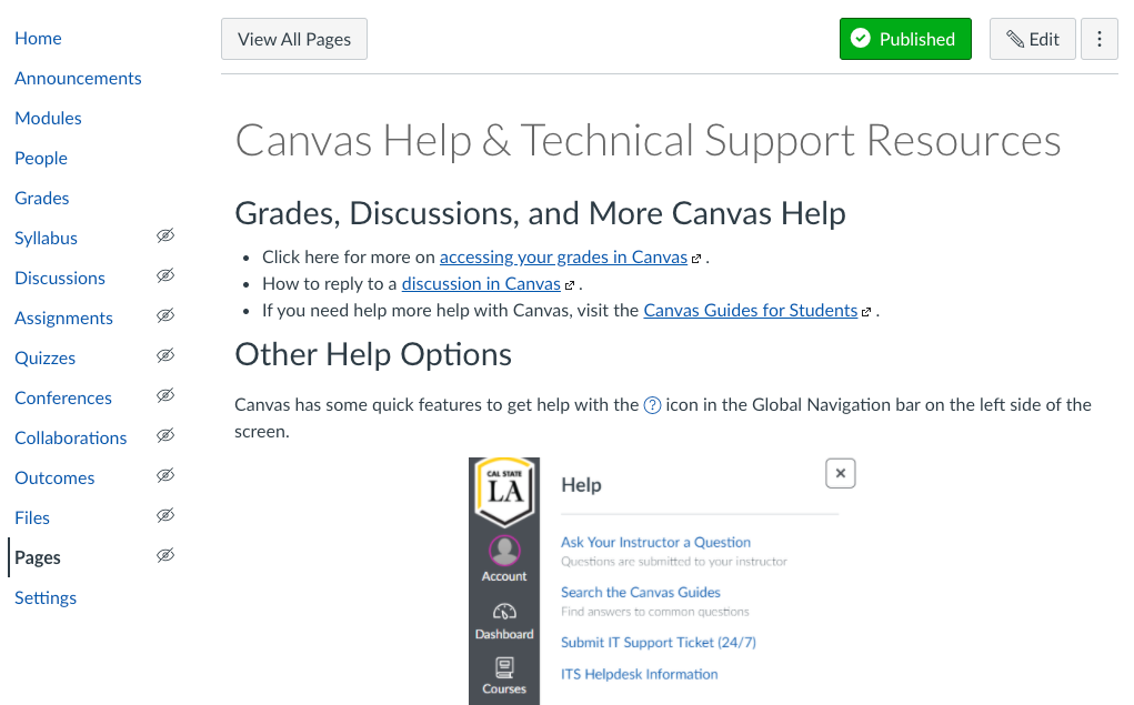 Canvas Help and Technical Support