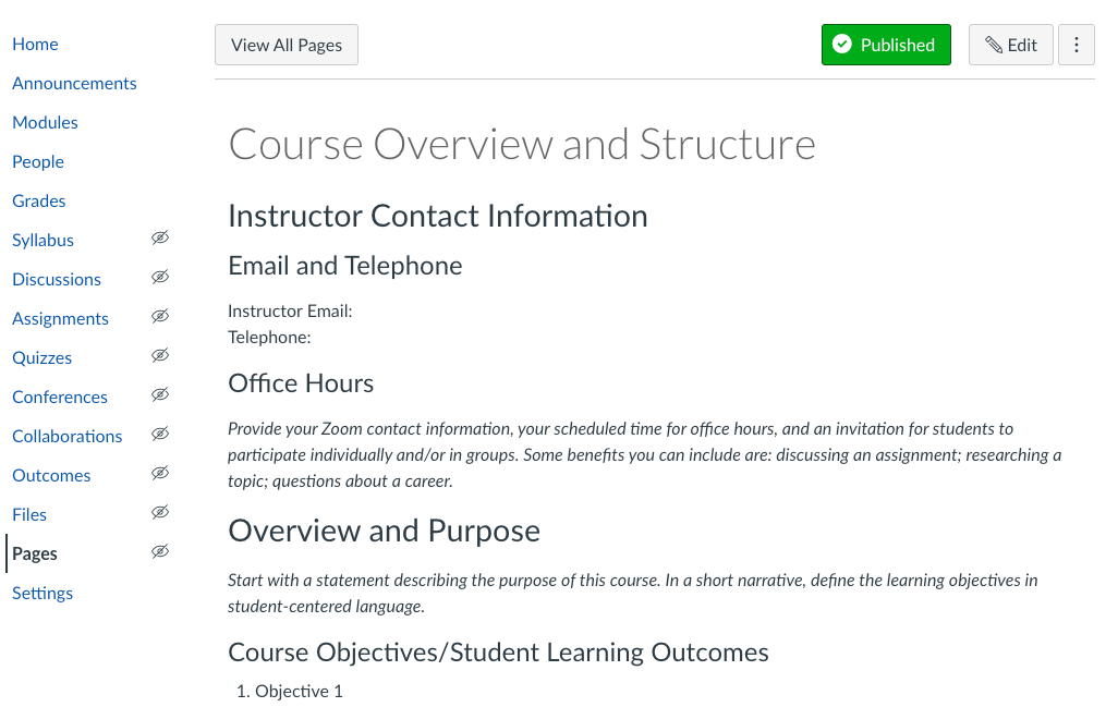 Course Overview and Structure Page