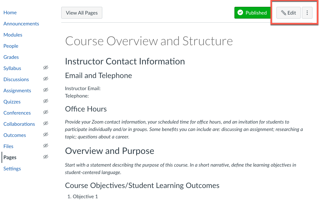 Edit the Course Overview and Structure Page