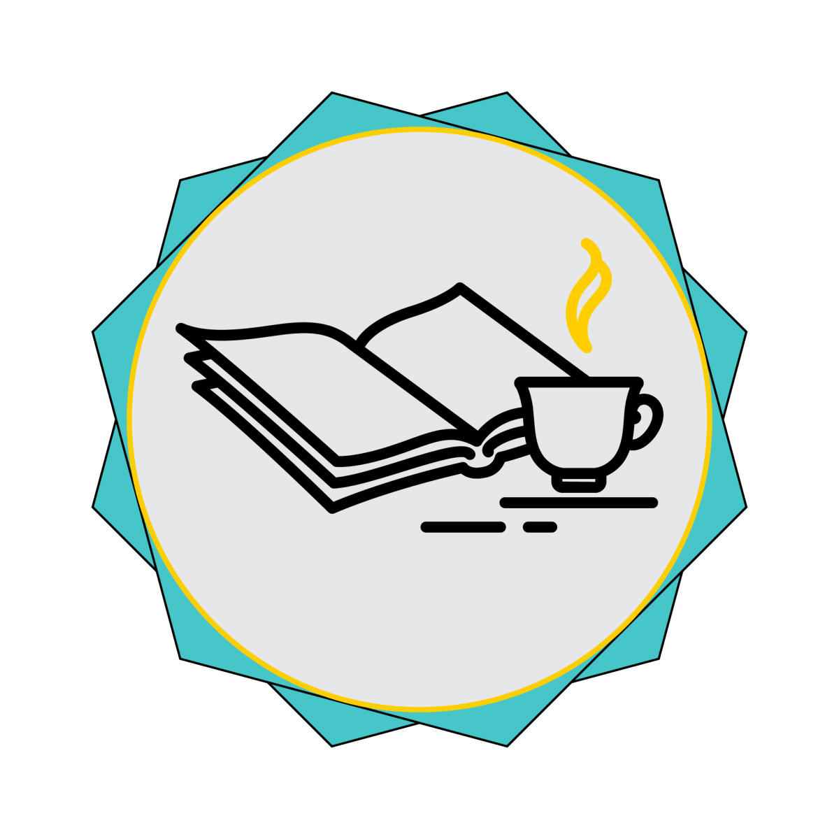 BookClub badge an open book with a cup of tea