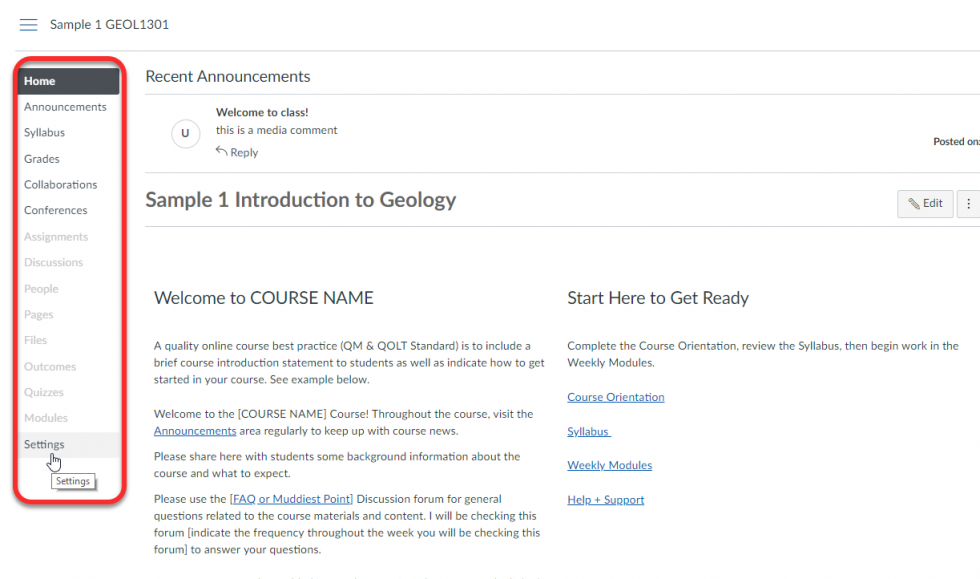 Instructor view of a Home Page with Course Navigation Highlighted and the Settings option preselected