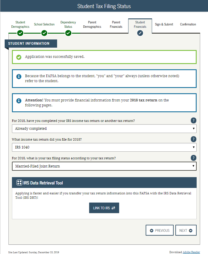 Screenshot of IRS Data Retrieval tool