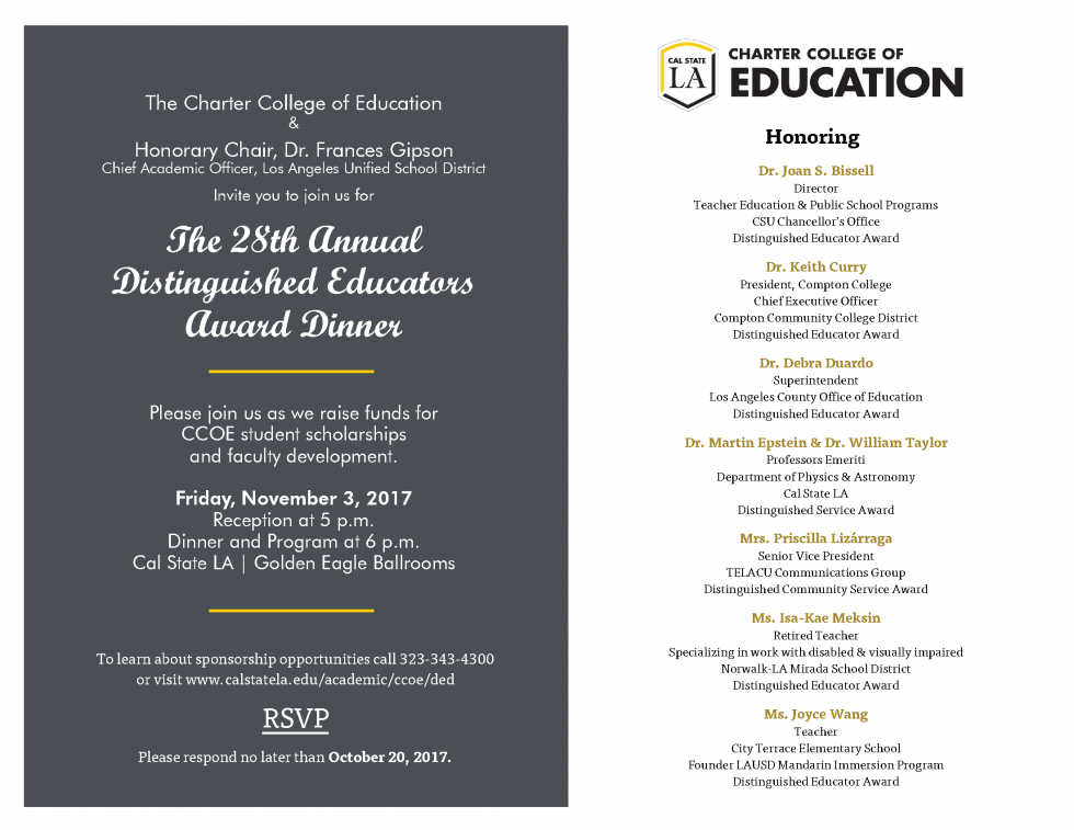 Distinguished Educators Award Dinner Invitation