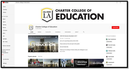 Screenshot of the CCOE YouTube Channel