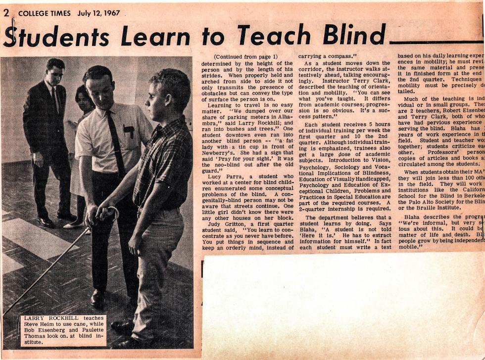 Students Learn to Teach Blind