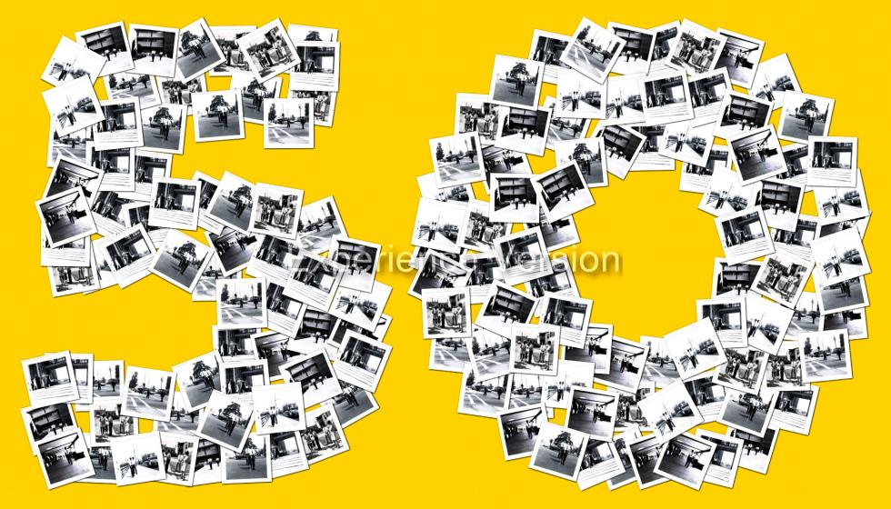 A collage of Cal State LA O&M pictures from 1967, forming the shape of the number 50.