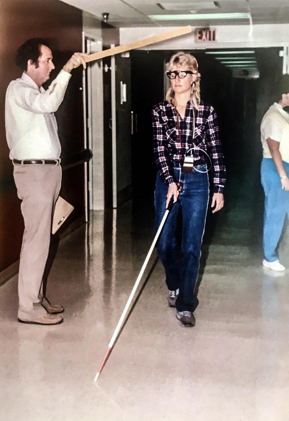 Training in the use of sonar device with the long cane to detect head level obstacles (late 1980s,Western Blind Rehabilitation Center, Palo Alto)