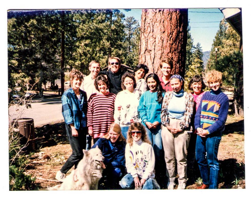 Diane Fazzi, Toni Gartner, Rose Marie Swallow (O&M and TVI Program Faculty) in Big Bear Lake with Cal State LA students for an Activities of Daily Living Skills weekend (late 80's)