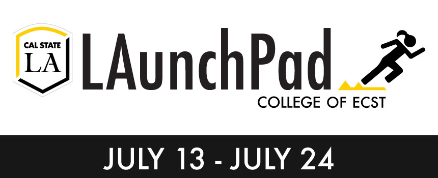 Cal State LA, College of ECST LAunchPad July 13-24, icon of girl running