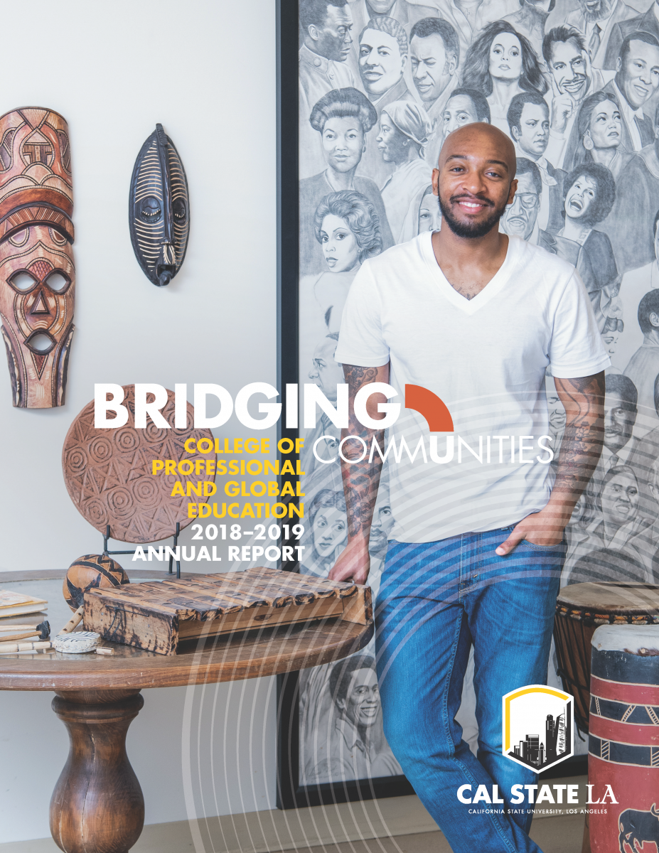 PaGE Annual Report 2018-2019 Bridging Communities. Student Karyos Tyus poses in front of African American murals and art on cover.