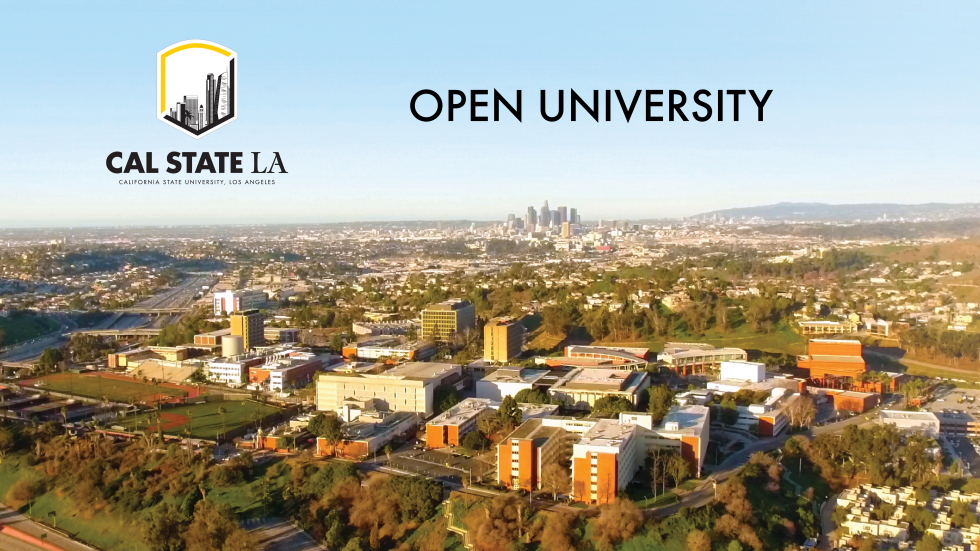 Open University at Cal State LA with aerial photo of university and surroundings