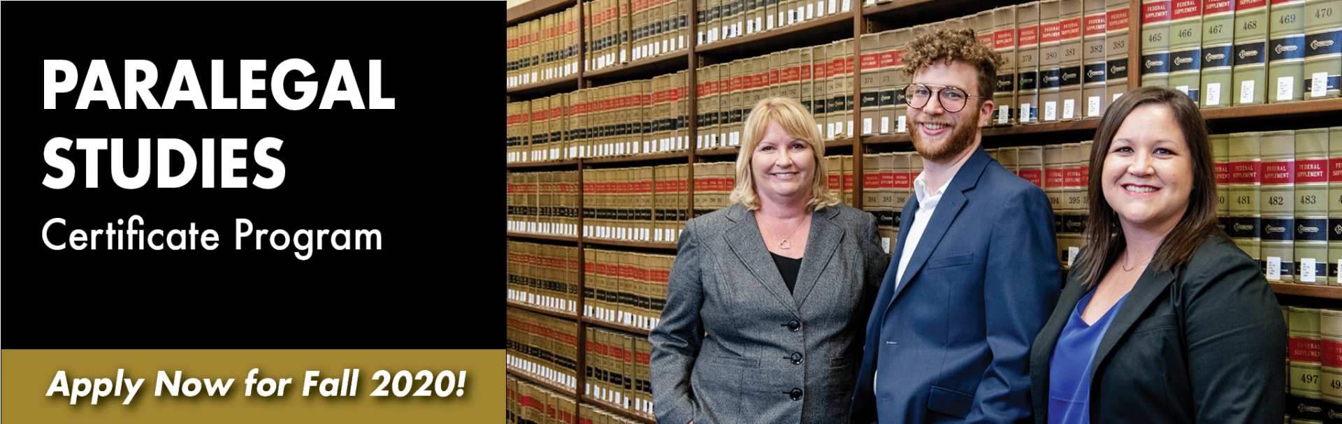 Two women and one man professionally dressed standing in front of books stacks at Los Angeles Law Library.