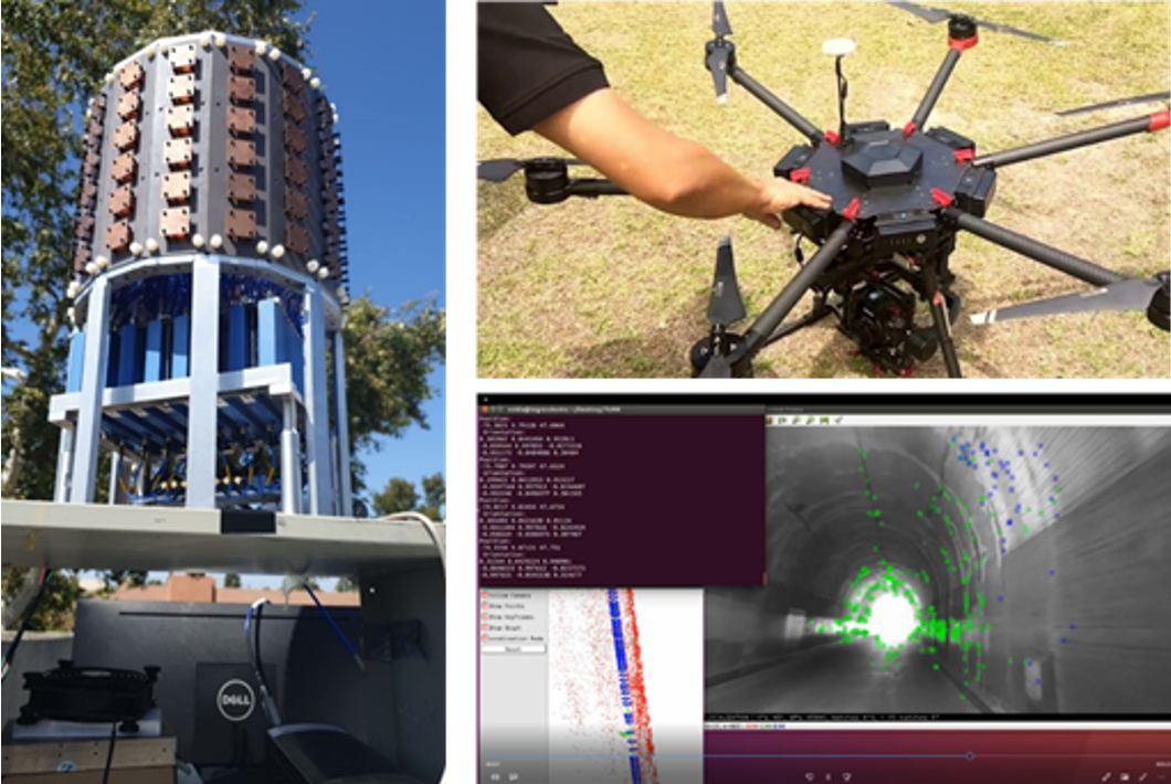 Three image collage. Left: A large tower with panels. Top right: a student project; a drone. Bottom right: Software screenshot highlighting light in a tunnel.