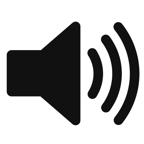 Loud speaker symbol meant to signify audio recording available