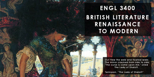 Announcement banner for ENGL 3400, classical art painting with text on top