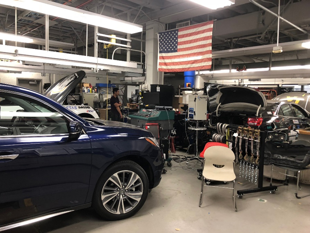 Cars and equipment in the Transportation and Power Lab