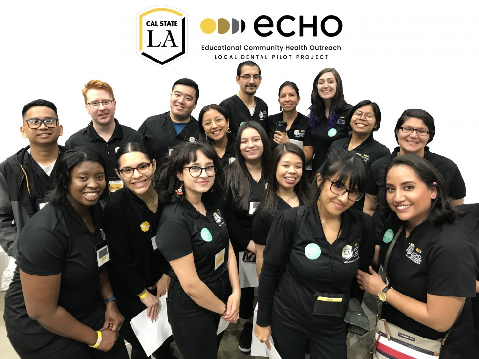 ECHO student-assistants gathered together during community event