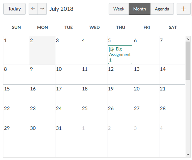 Adding an event in the Calendar
