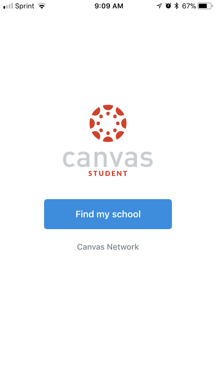 Canvas App for Students Find My Institution Interface