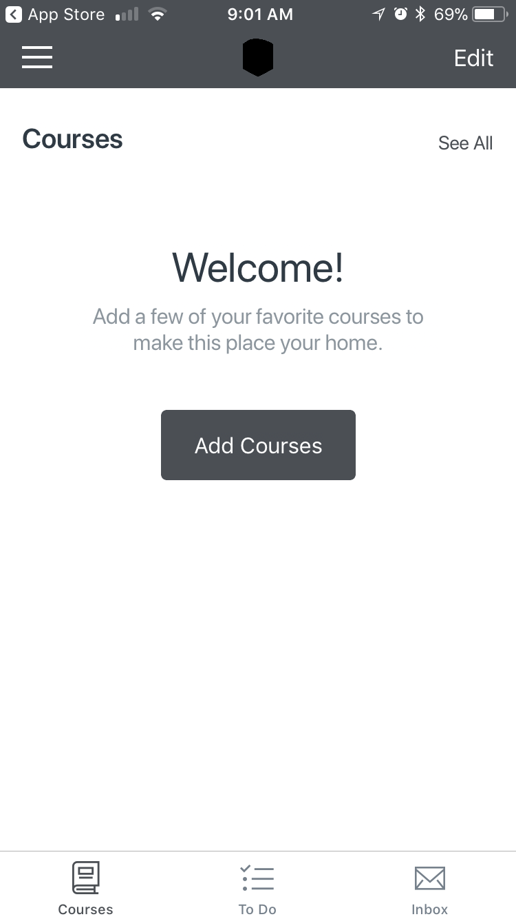 Canvas App Landing Page Asking to set up your classes