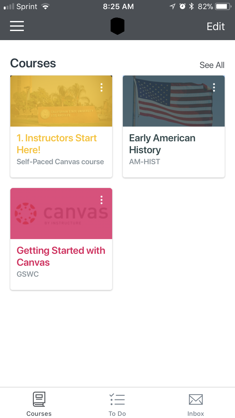 Canvas App Landing Page with Course Titles set up