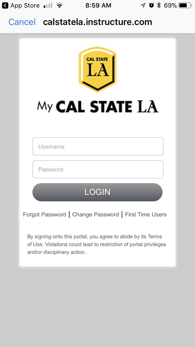 Canvas App My CalstateLA identity sign in page
