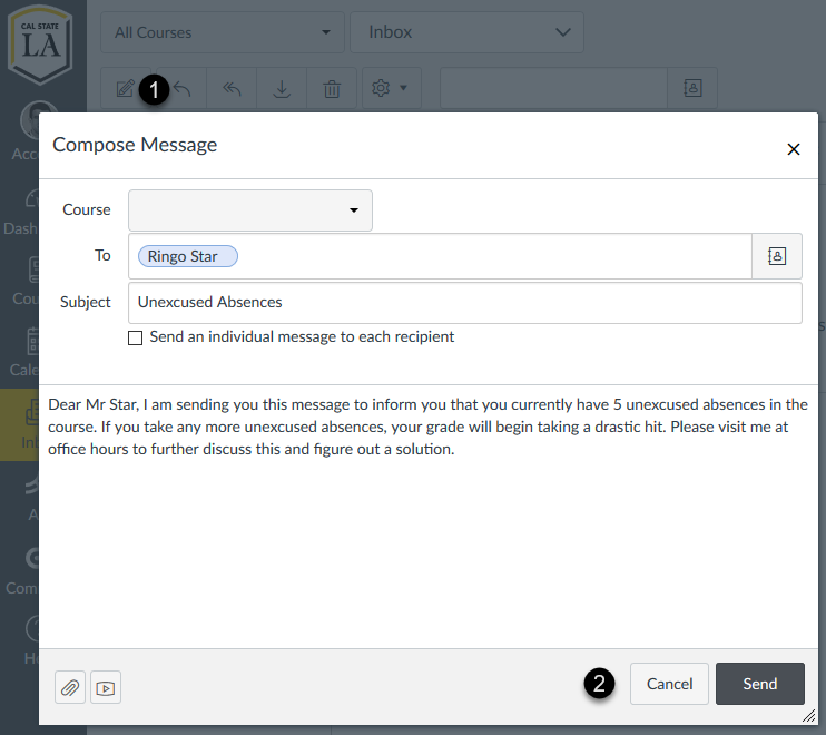 Messaging an individual student in Canvas
