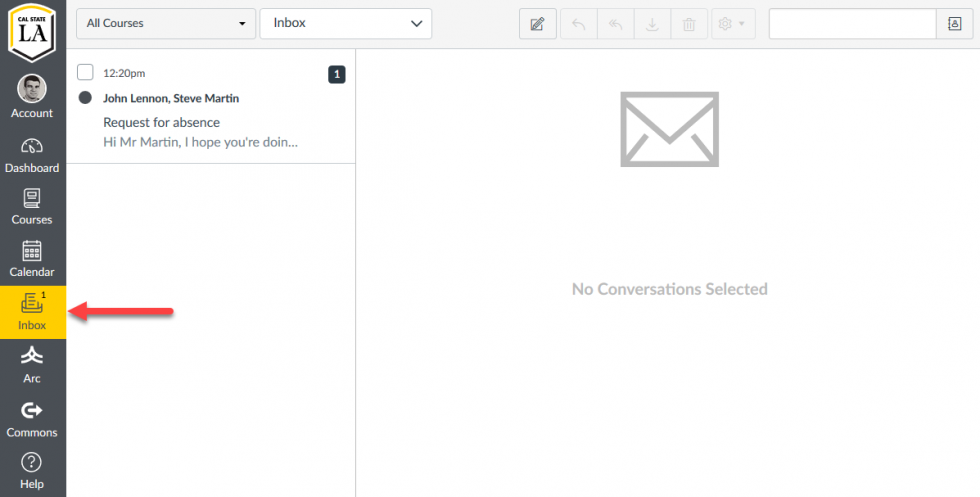 The Conversations page in Canvas
