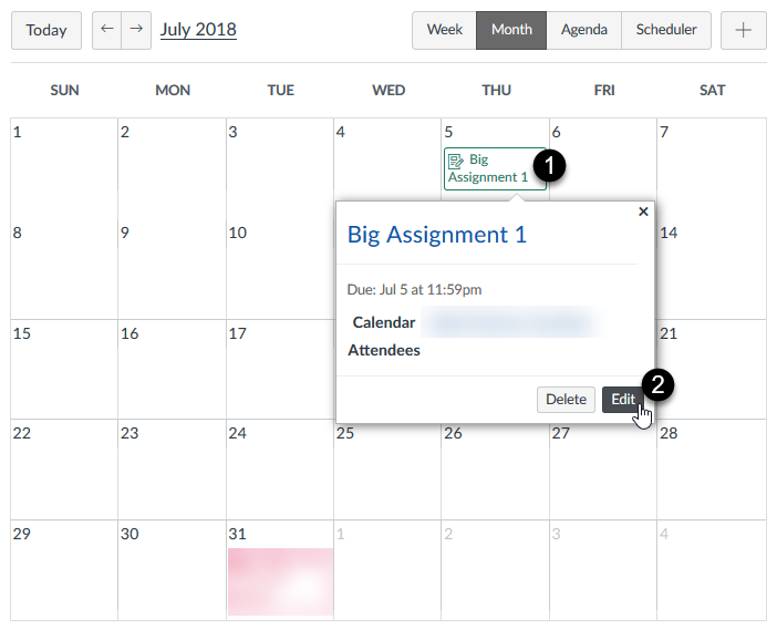 Edit event option on the Calendar