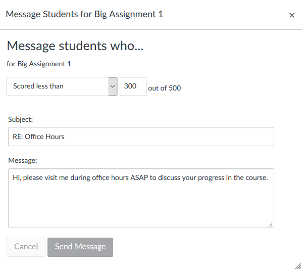 Screen when messaging students from the Gradebook
