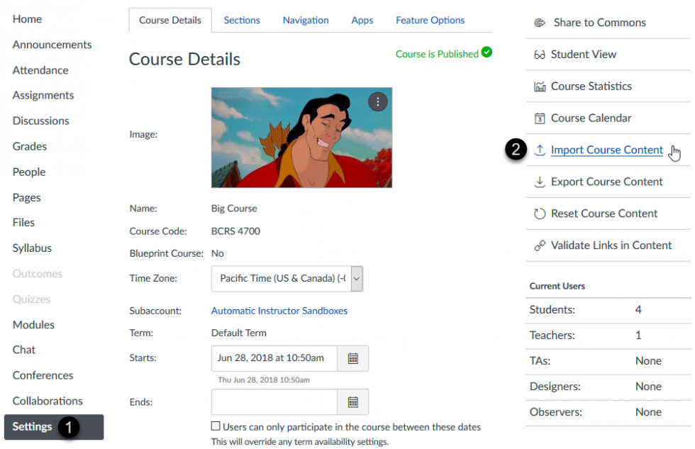 Importing a course to Canvas