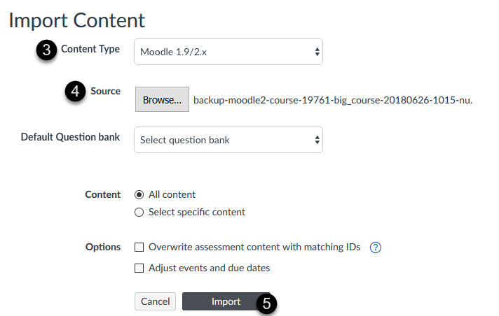 The import content page in Canvas