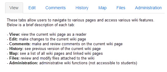 Tabs used to navigate a wiki