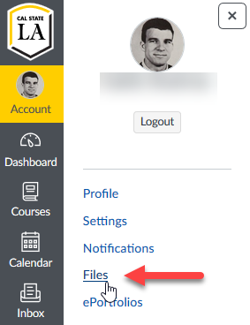 Personal files link in the account sidebar