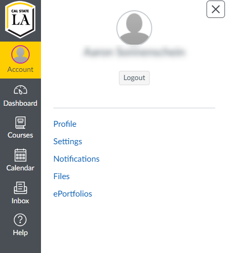 Profile Menu from the Global Navigation
