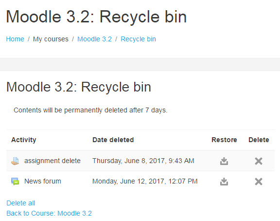items in moodle 3.2 recycle bin
