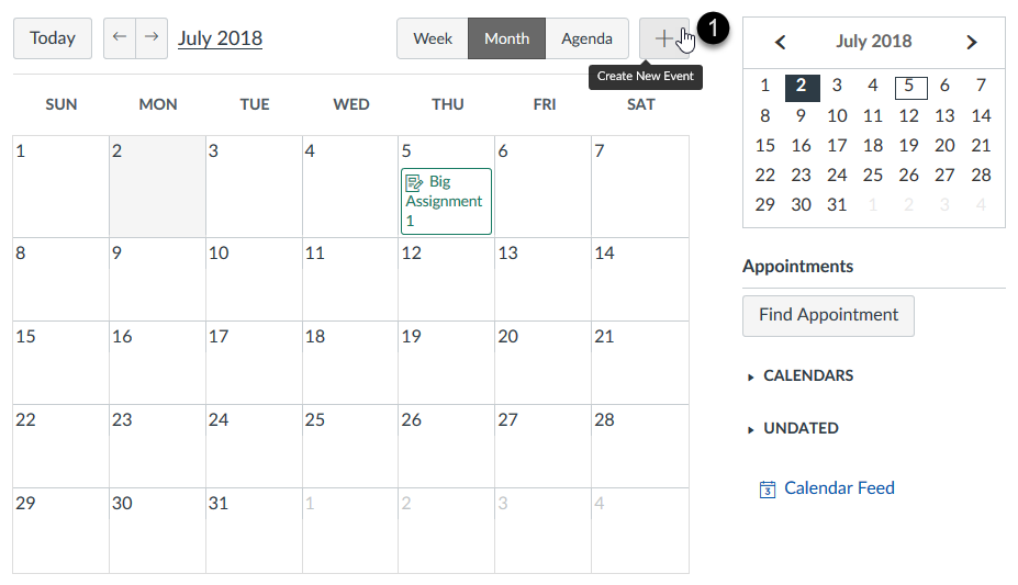 Adding an event for an appointment group in the Calendar